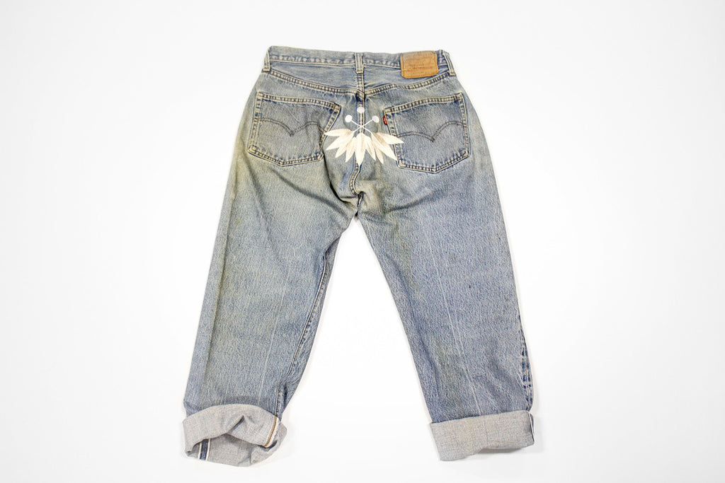 Women's Vintage Denim Levi Jeans Pant with Embroidery