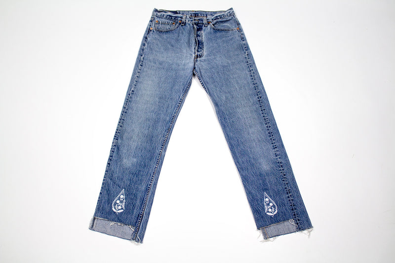 Vintage Women's Denim Levis with Embroidery - Paisley Drop Vintage Levi's
