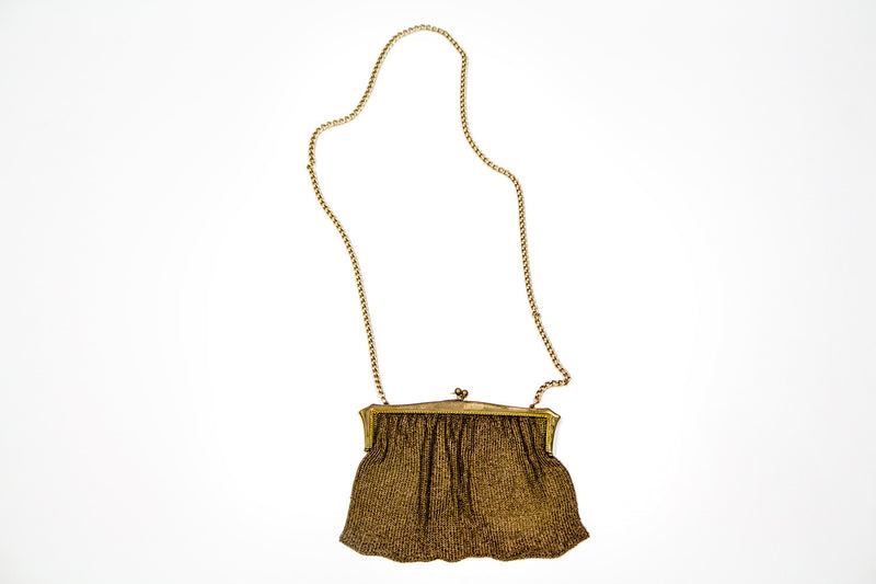 Vintage Women's Chainmail Evening Gold Handbag