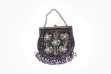 Vintage Women's Floral Beaded Evening Handbag
