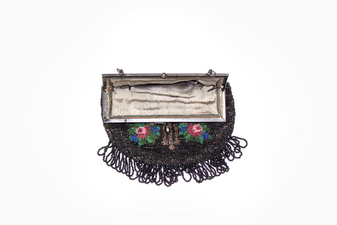 1940s Floral Beaded Evening Bag - Vintage Women's Handbag