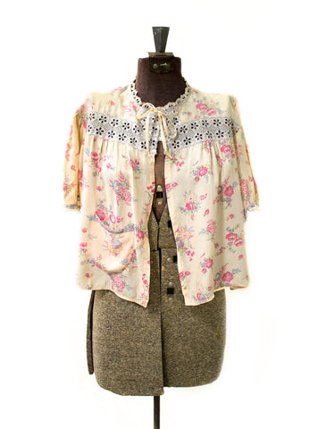 Dainty Floral 30's Bed Jacket