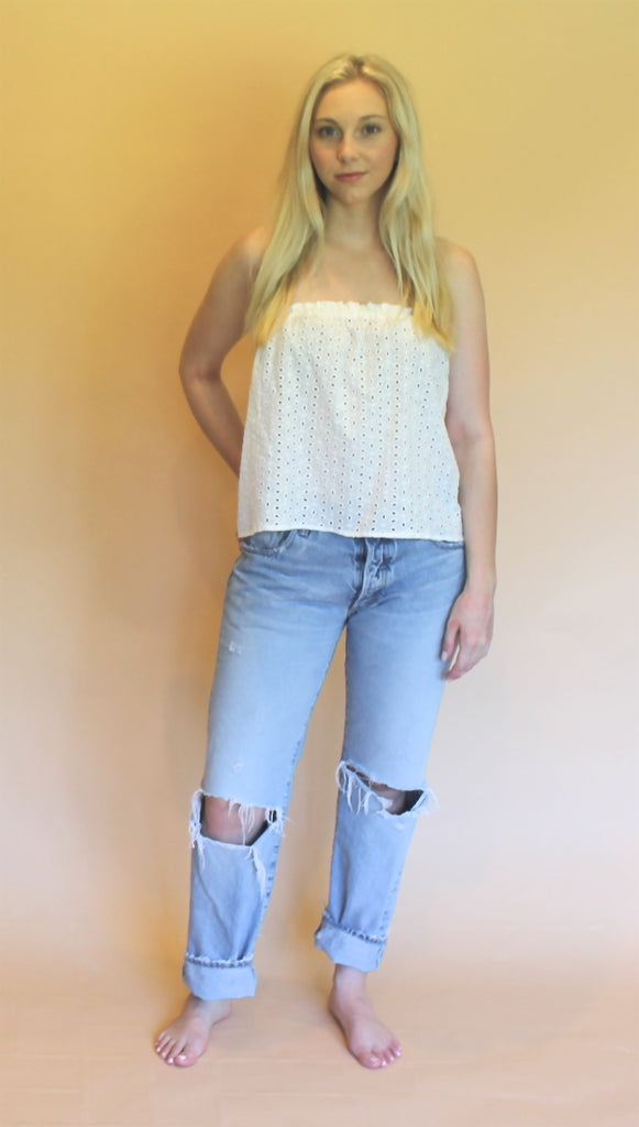 Eyelet Cropped Tube Top