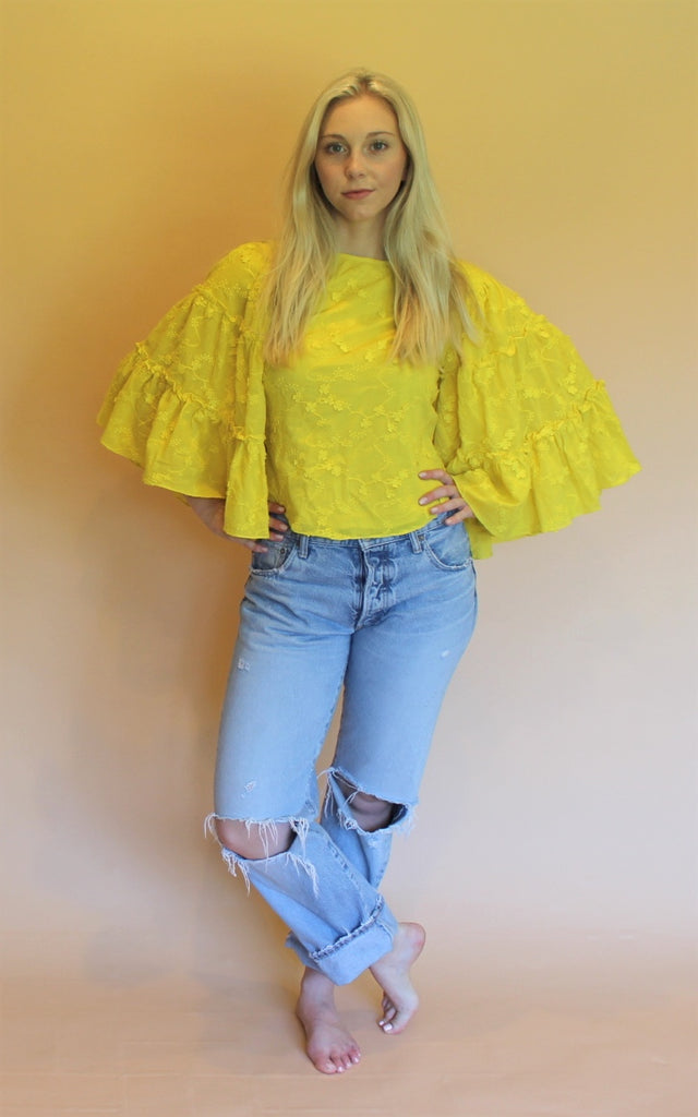 TRYB Yellow Embroidered Top