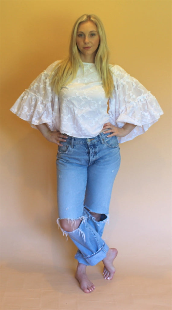 TRYB White Embroidered Blouse