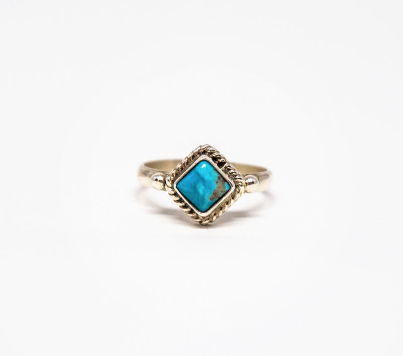 Mini Stone Ring - Women's Turquoise and Silver Jewelry