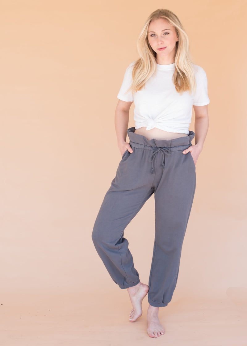 Women's High Waisted Fashion Sweatpants - Paper Bag Pant