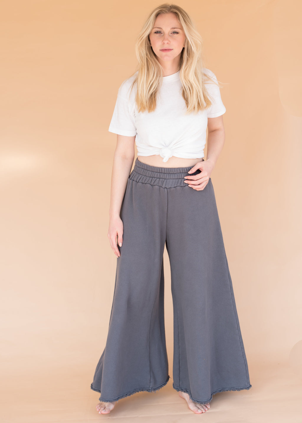 Women's High-Waisted Wide Leg Grey Sweatpants - Shark Grey