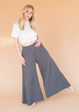 Women's High-Waisted Grey Wide Leg Sweatpants