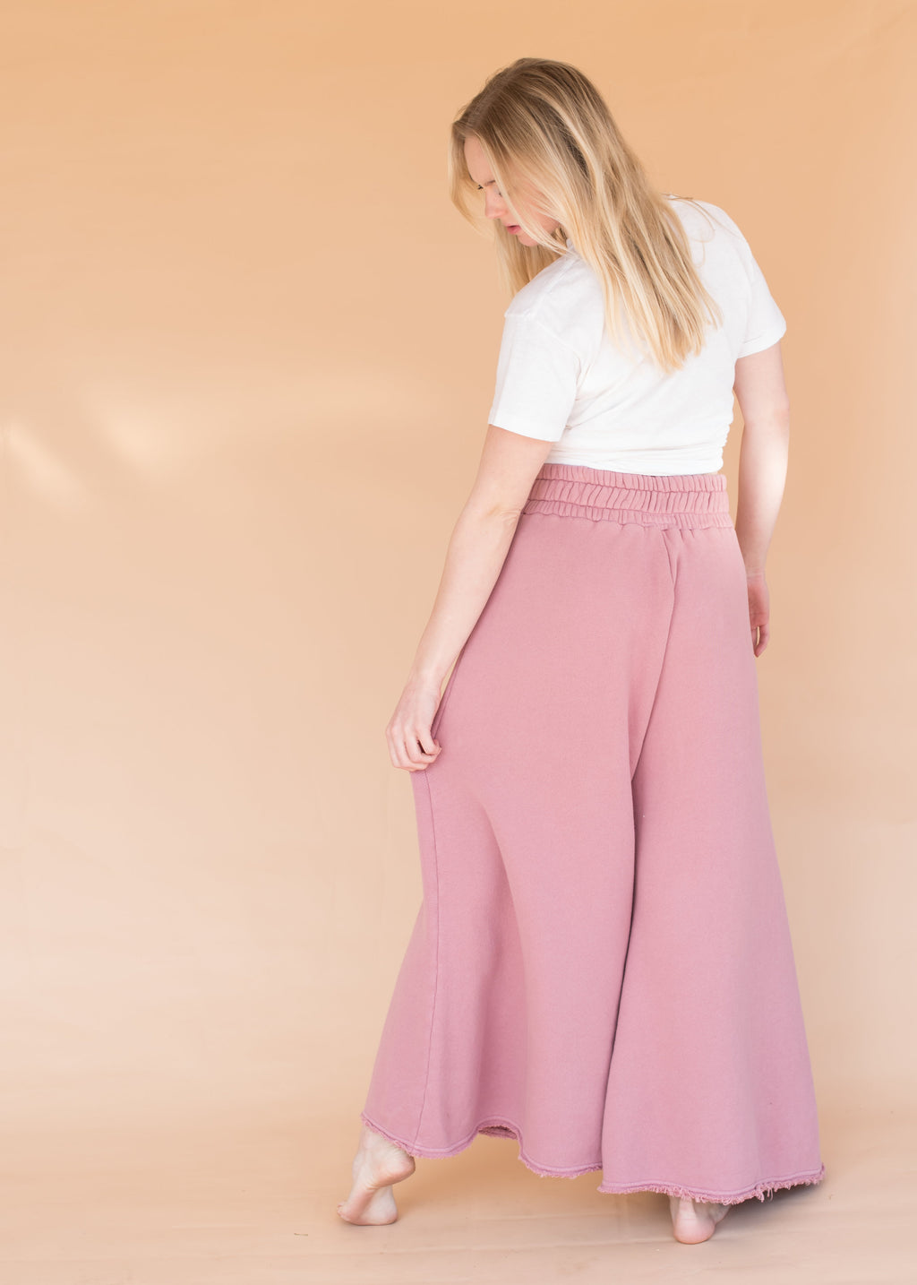 Women's High-Waisted Wide Leg Dusty Rose Sweatpants