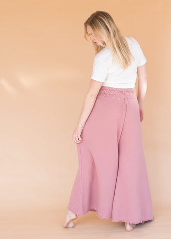Wide Leg Sweats - Dusty Rose - Women's High-Waisted Wide Leg Rose Sweatpants
