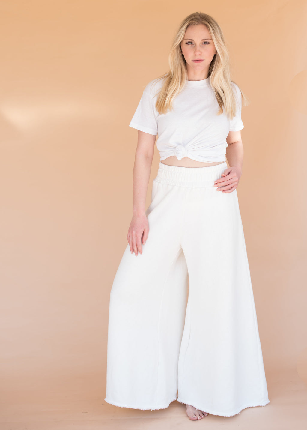 Women's High-Waisted Ivory Wide Leg Sweatpants
