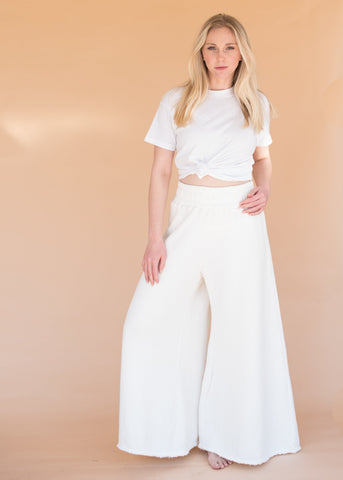 Wide Leg Sweatpants - Ivory - Women's High-Waisted Wide Leg Ivory Sweatpants