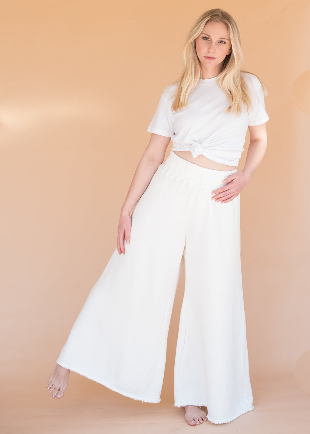 Women's High-Waisted Wide Leg Ivory Sweatpants