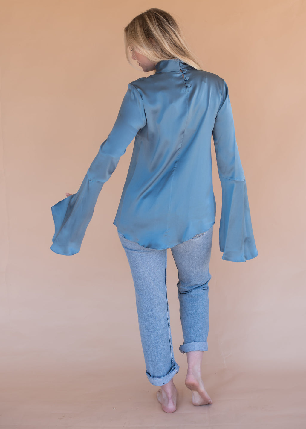 Women's Silk Blue Blouse with Bell Sleeves and Buttons