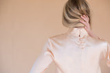 Women's Silk Pink Blouse with Bell Sleeves and Buttons