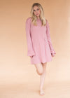 Ruffle Dress - Dusty Pink - Women's Pink Dress with Ruffle Sleeve