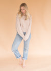 Cozy Nude Long Sleeve Cropped Sweatshirt