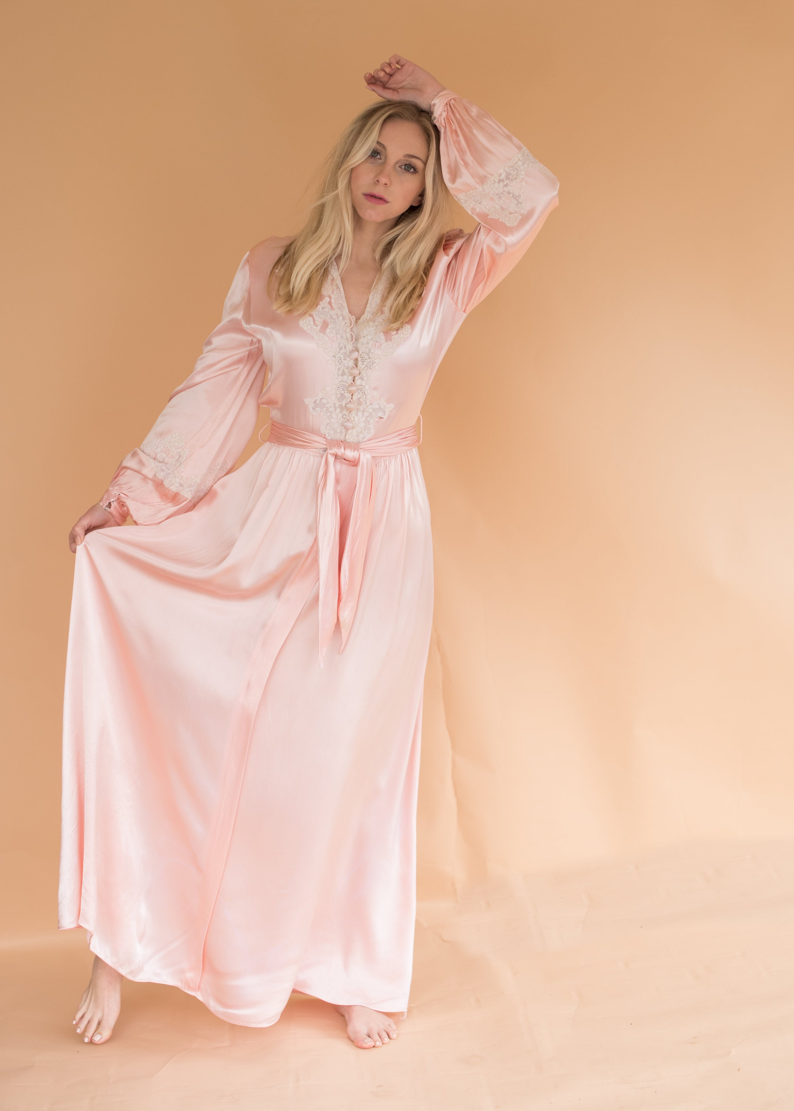 Vintage Pink Heavy Satin Dressing Gown
