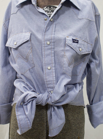 """Cowboy Take Me Away"" Chambray Pearl Snap"