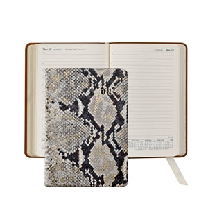 GRAPHIC IMAGE | Gold Wash Embossed Python Leather Daily Journal - Gold Snakeskin Personal Accessory and Planner Agenda