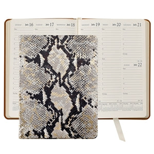 GRAPHIC IMAGE | Gold Python Embossed Leather Desk Diary - Gold Snakeskin Personal Accessory and Planner Agenda