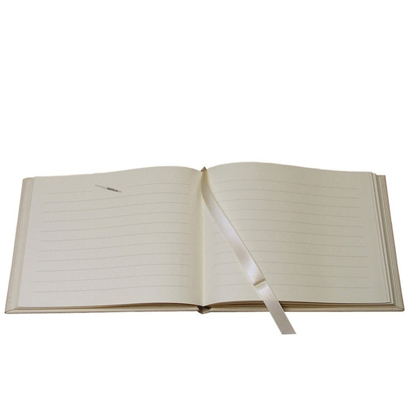 GRAPHIC IMAGE | White Nappa Cowhide Leather Guest Book