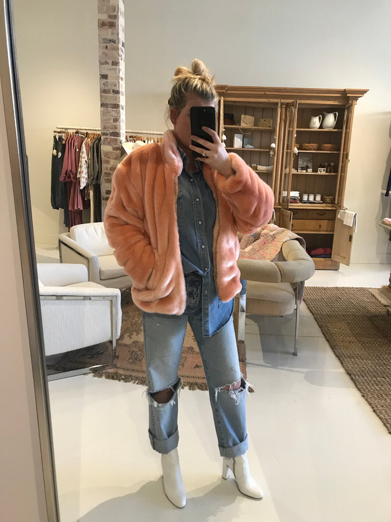 Women's Faux Fur Bomber Jacket