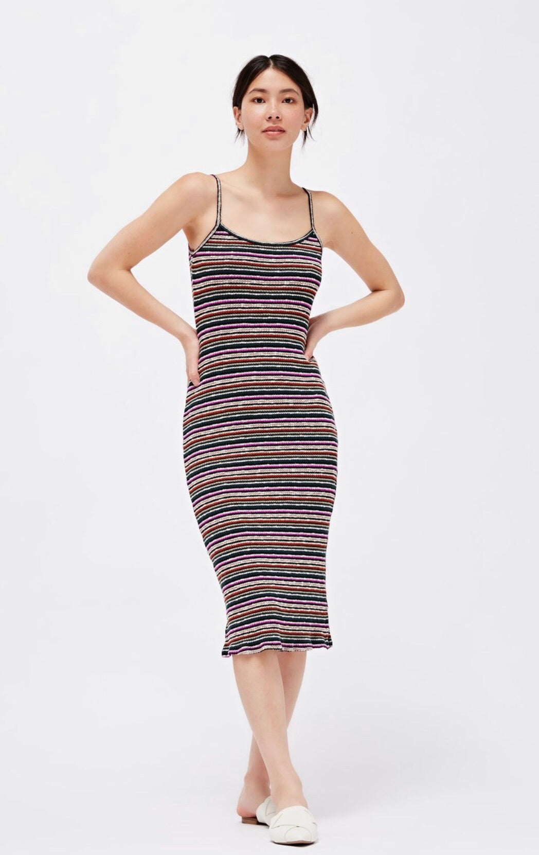 LACAUSA Striped Midi Dress