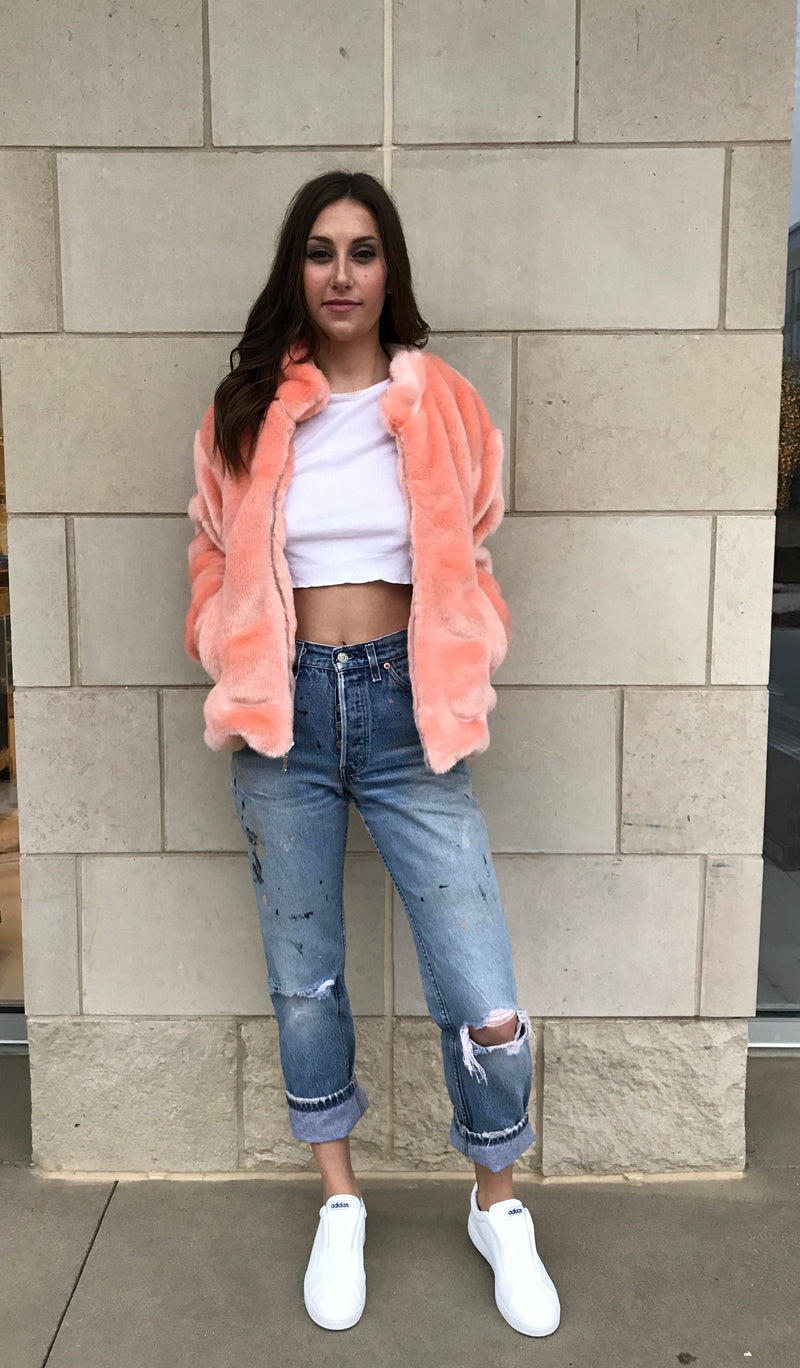 Women's Peach Faux Fur Bomber Jacket