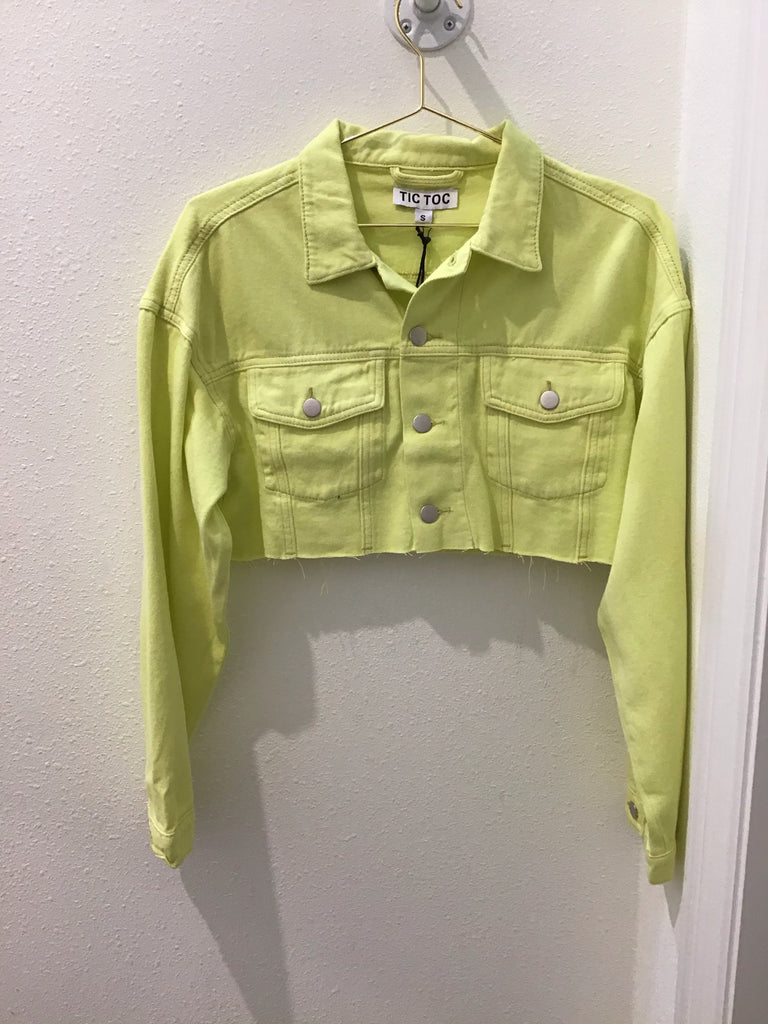 Neon Crop Denim Jacket