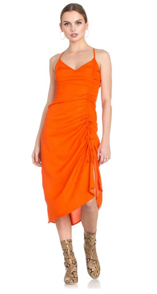 Ruched Tie Mini Slip Dress Tangerine