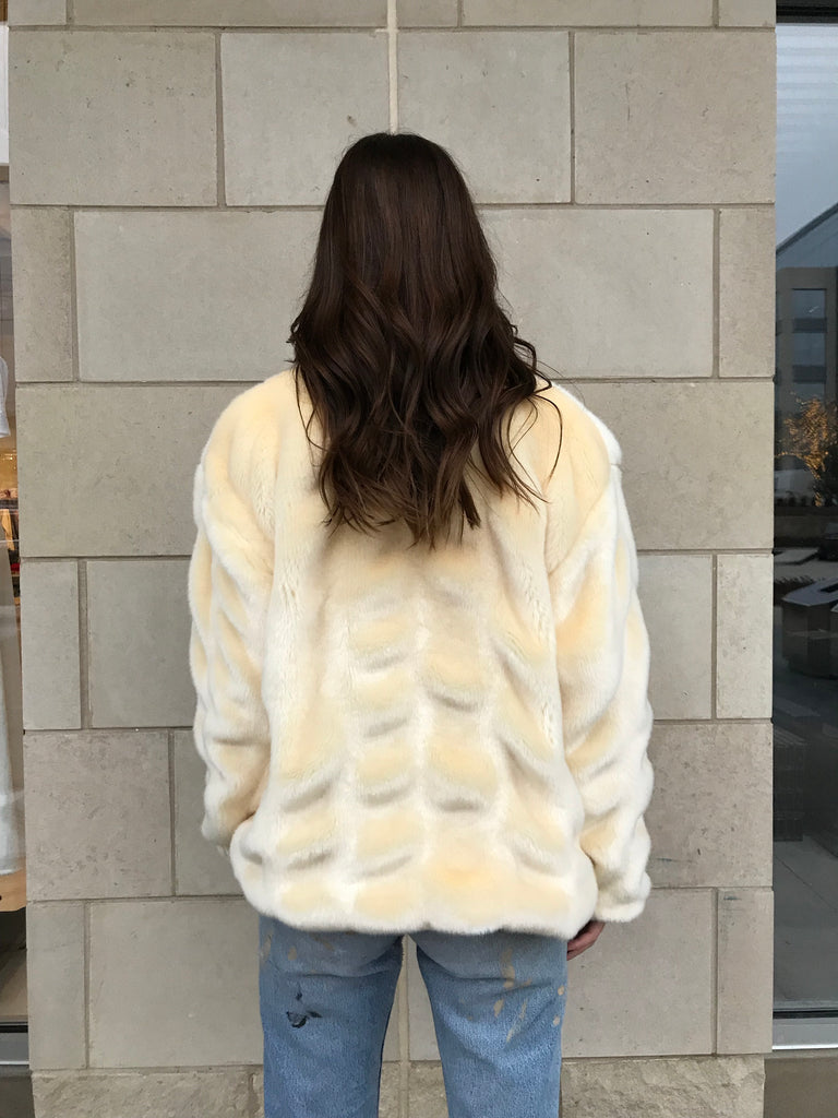 Faux Fur Bomber- Butter - Women's Ivory Faux Fur Bomber Jacket
