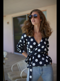 Selkie wrap top polka dot