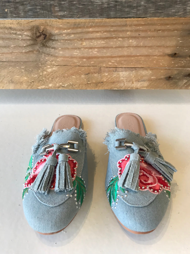 Denim Slide-Ons with Floral Detail - Women's Shoes