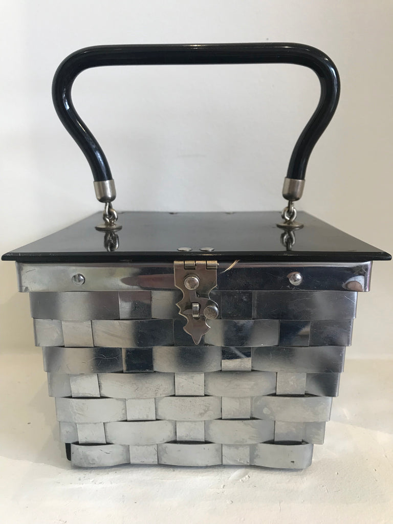 Silver Metal Weave Box Purse 1960s