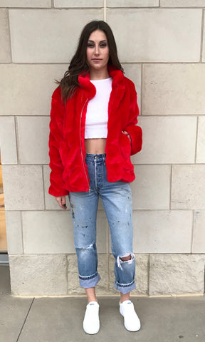Faux Fur Bomber- Fire Engine Red