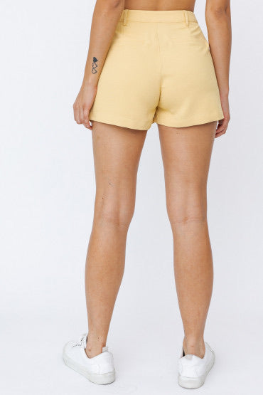 Yellow Button Up Shorts