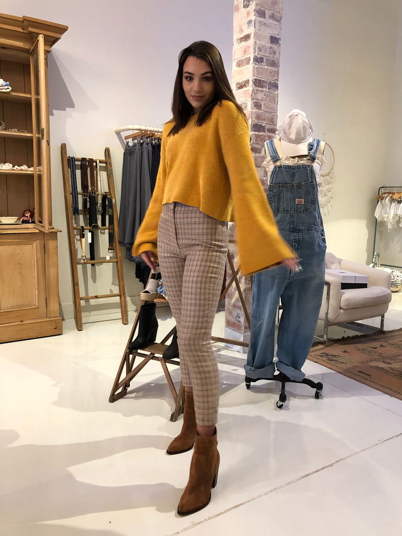 Mustard Chenille Cropped Sweater