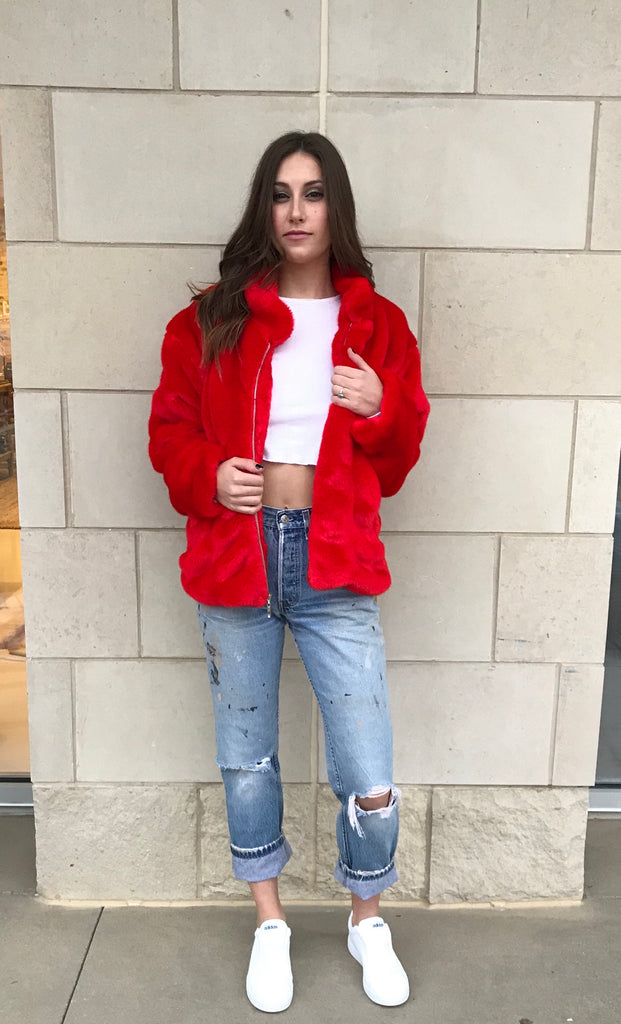 Faux Fur Bomber- Fire Engine Red - Women's Red Faux Fur Bomber Jacket