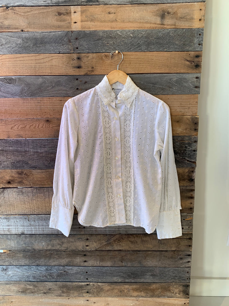 Vintage Eyelet Button Down