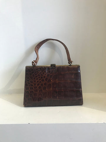 Metallic Fendi Boston Handbag