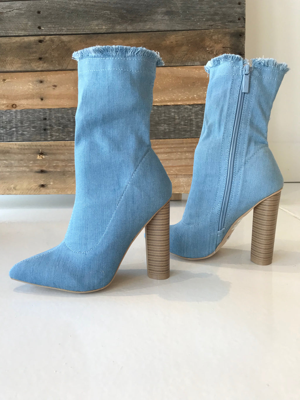 Denim Ankle Boot - Women's Shoes