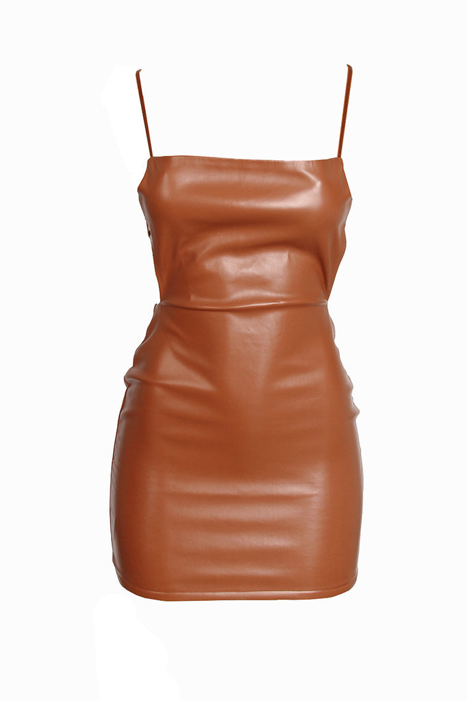 Faux Leather Mini- Mocha