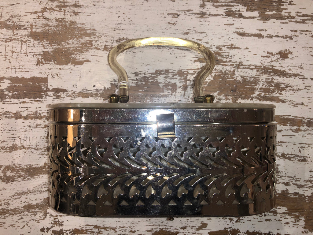 50s metal and lucite oval purse