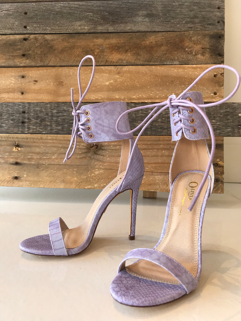 Purple Snakeskin Heel with Laces - Women's Shoes