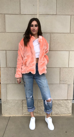 Faux Fur Bomber- Peach - Women's Peach Faux Fur Bomber Jacket