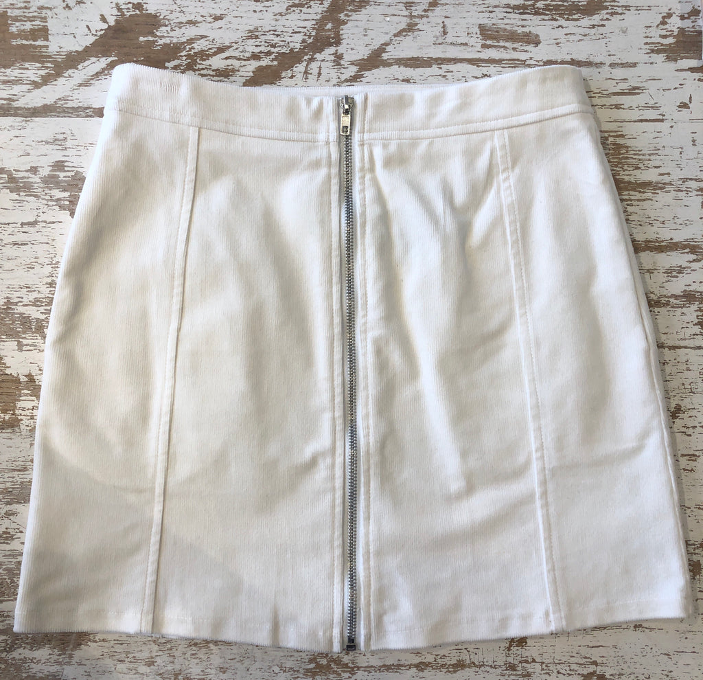 LUCCA Zip-Up Skirt - White