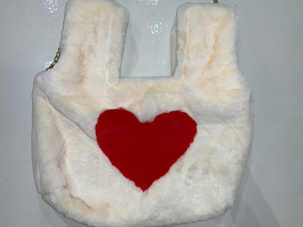 Valentines Red Heart Fuzzy Purse