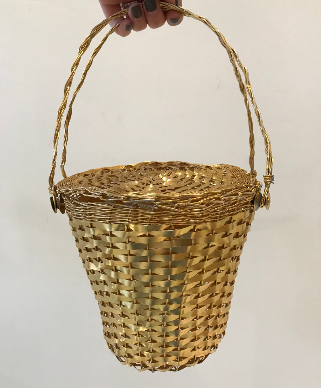 1950s Gold Basket Purse
